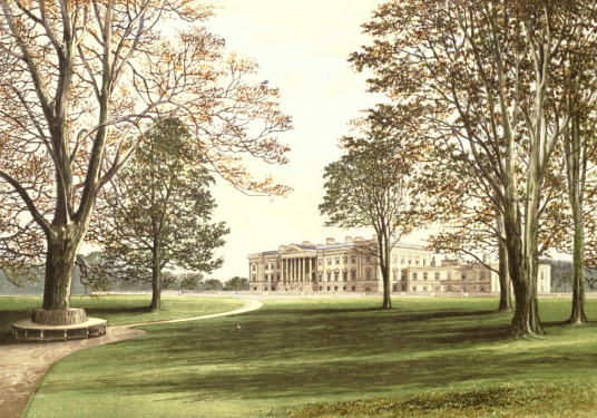 Hamilton Palace, a magnificent mansion of the Dukes of Hamilton, now demolished, to the east of Hamilton in central Scotland.
