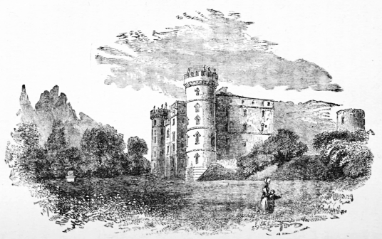 Douglas Castle, a very ruinous old castle and mansion, once home to the powerful Douglases, located in a pleasant spot near the village of Douglas in Clydesdale in Lanarkshire.
