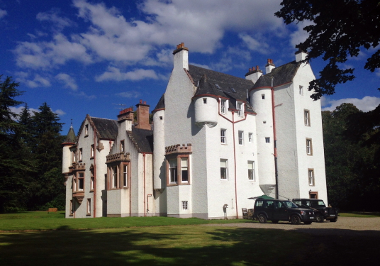 Erchless Castle is a fine old tower in a pretty spot, long a property of the Chisholms, near Beauly in the Highlands of Scotland.