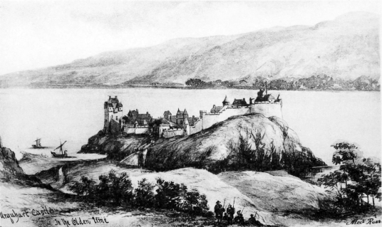 Reconstruction, Urquhart Castle, a scenic old ruinous stronghold in a beautiful location on the banks of the famous Loch Ness, home to the legendary Loch Ness Monster, near Inverness in the Highlands in the north of Scotland.