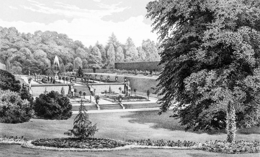 Gardens of Terregles House, site of a castle and then a mansion, was long a property of the Herries family and then the Maxwells, near Dumfries in the south of Scotland