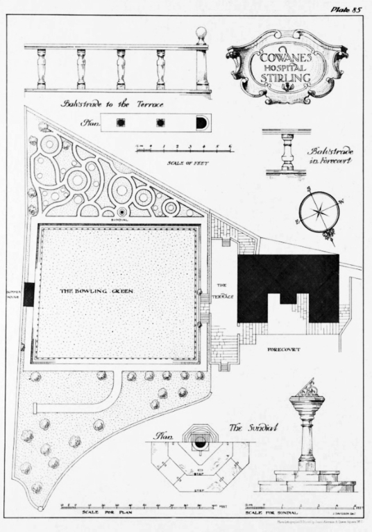 Plan of garden, Cowane's Hospital and Guildhall, an atmospheric old building, endowed by John Cowane, a wealthy merchant to care for guild members who had fallen on hard times, in the historic burgh of Stirling.