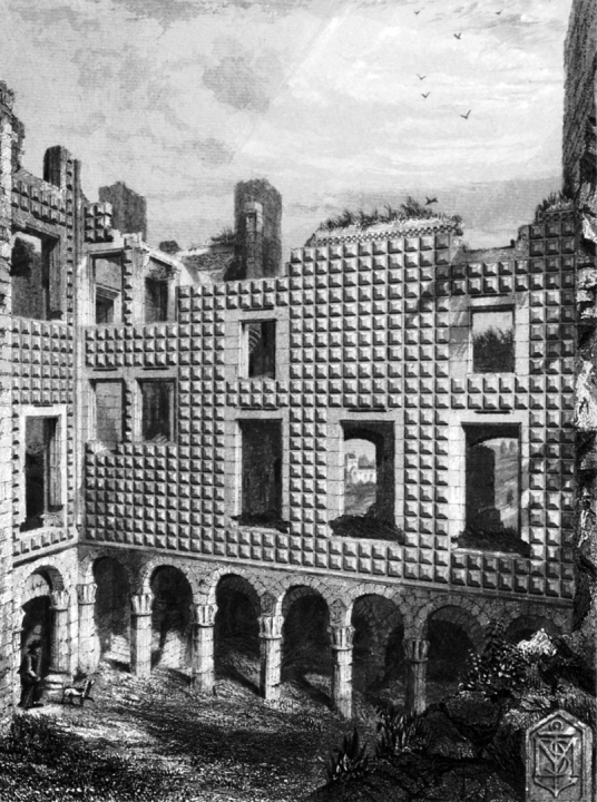 Courtyard with a diamond-decorated facade of Crichton Castle, a fabulous ruined medieval castle in a pretty spot above the River Tyne, held by the Crichtons, Hepburn and Stewart Earls of Bothwell, near to Pathhead and Edinburgh