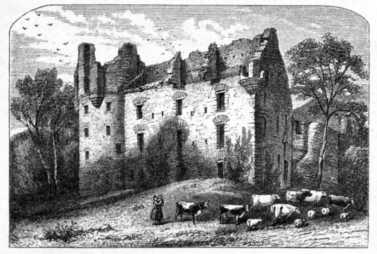 Drochil Castle, a large and sophisticated but overgrown and ruinous old tower house, built by James Douglas, Earl of Morton as his home although he was soon executed, and standing in woods near Peebles in the Borders in southern Scotland.