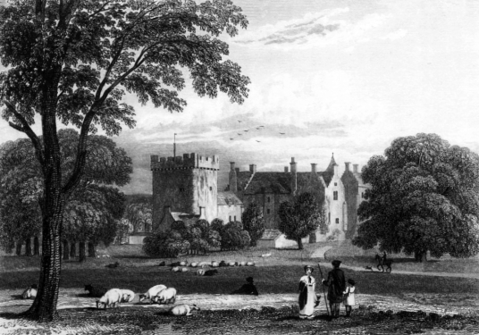 Drum Castle, a fine mansion with an old tower house and an interesting interior, set in pretty gardens and grounds, long held by the Irvine or Irving family, near Banchory in Aberdeenshire in northeast Scotland.