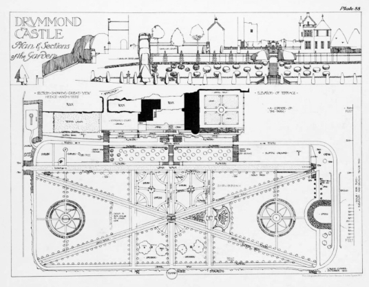 Plan of gardens, Drummond Castle , an impressive old castle and later mansion with spectacular formal gardens, long held by the Drummond family and near Muthil in Perthshire.