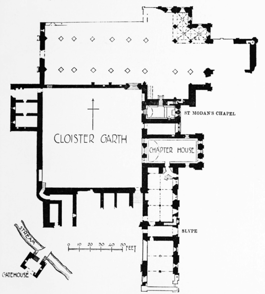 Plan of Dryburgh Abbey, a fantastic and scenic ruinous abbey, burial place of Walter Scott and set in a peaceful spot by the River Tweed, near Melrose in the Borders in the southeast of Scotland.