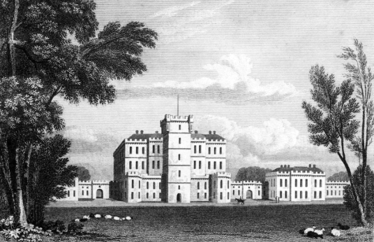 Gordon Castle, the reduced but still impressive mansion of the Gordon Dukes of Gordon, formerly known as Bog of Gight, set in landscaped policies with a walled garden near Fochabers and Elgin in Moray in northeast Scotland.