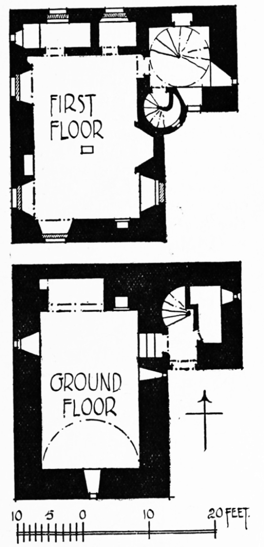 Plans, Greenknowe Tower, a ruinous but an attractive old tower house, held by the Setons and then the Pringles, located in a pretty spot with old trees near the village of Gordon in the Borders.