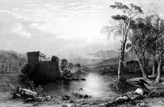 Loch an Eilein or Loch an Eilean Castle is a picturesque ruinous old castle of the Wolf of Badenoch on an island in a loch on the Rothiemurchus estate near Aviemore in the Highlands.