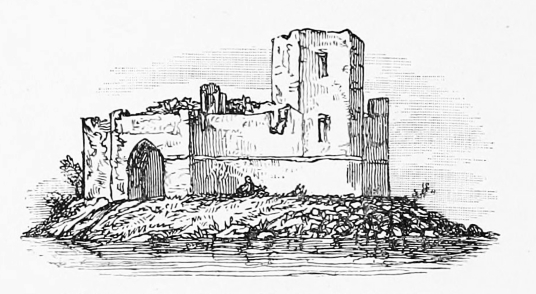Loch Doon Castle, before being moved, a medieval fortress moved from an island in Loch Doon when the level of the water was raised, in a peaceful and picturesque spot, some miles from Dalmellington in the southwest of Scotland.