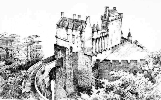 Reconstruction, Roslin Castle, an impressive, partly ruinous old stronghold on a rock above the River Esk, long held by the Sinlcairs and near the beautiful and intricately carved Rosslyn Chapel
