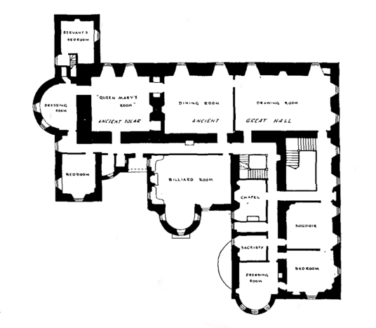 Plan of first floor, Rothiemay Castle, an old castle and mansion, has been demolished, held by the Gordons, near Huntly in Aberdeenshire in northeast Scotland.