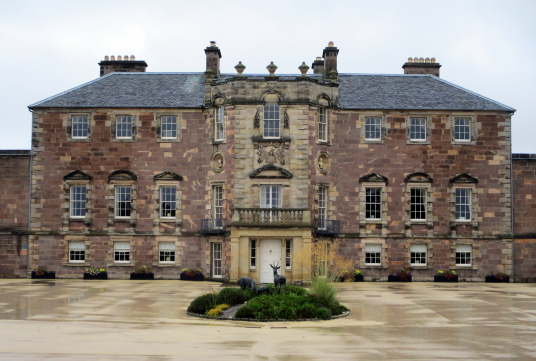 Archerfield is a restored old mansion, once held by the Nisbets of Dirleton, with the walled garden featuring cafe and bar, near the pretty village of Dirleton in East Lothian in southeast Scotland.