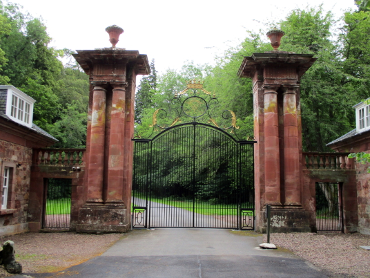 Main gates, Yester House is a fine classical mansion in a pretty spot, built by the Hays of Yester, near Gifford in East Lothian.