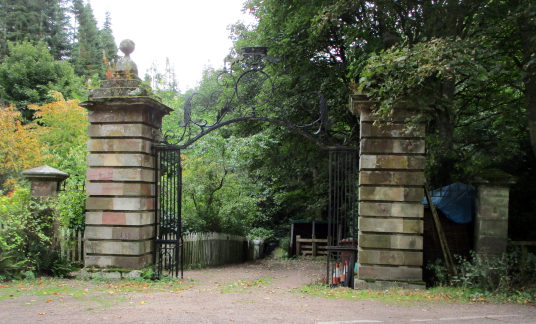 East gates, Yester House is a fine classical mansion in a pretty spot, built by the Hays of Yester, near Gifford in East Lothian.