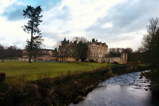 Newbattle Abbey, a large and impressive mansion, remodelled out of part of the medieval abbey, long held by the Kerr Marquises of Lothian but now an adult education college, set in fine grounds near Dalkeith in Midlothian in central Scotland.