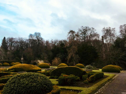 Garden, Newbattle Abbey, a large and impressive mansion, remodelled out of part of the medieval abbey, long held by the Kerr Marquises of Lothian but now an adult education college, set in fine grounds near Dalkeith in Midlothian in central Scotland.