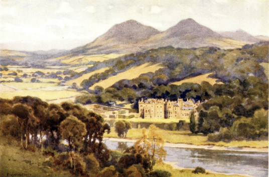 Abbotsford House, the home of Sir Walter Scott, the famous author, and stands in fine wooded grounds and gardens by the River Tweed, near Tweedbank, Melrose and Galashiels in the Borders of Scotland.