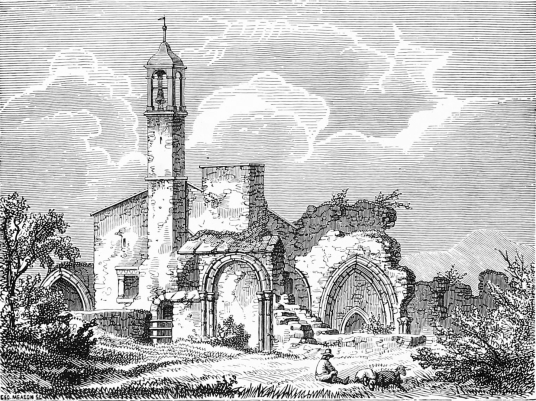 Coldingham Priory, showing the then ruin with a tower now gone. The church is an interesting graveyard with many old memorials in the peaceful village of Coldingham in Berwickshire in southeast Scotland.