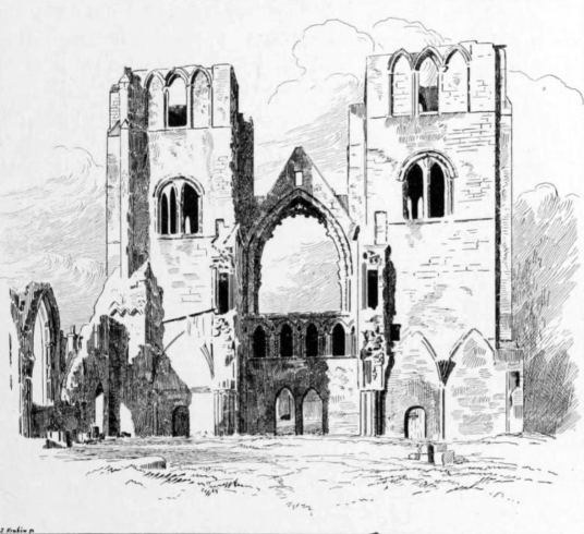 Elgin Cathedral, Spynie Palace, a castle despite its name, has one of the most impressive towers in Scotland, and was held by the Bishops of Moray who had their cathedral at Elgin in Moray in northeast Scotland.