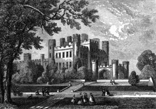 Stobo Castle, an impressive castellated mansion in fine gardens and grounds, held by the Murrays and then the Montgomerys and now a used as a hotel and spa, near Drumelzier and some miles from Peebles in the Borders in southern Scotland.