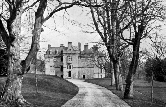 Sorn Castle, a fine old castle and mansion set in fine expansive grounds and woodland, owned by several families including the Hamiltons, Setons and Campbells, near Mauchline in Ayrshire in southwest Scotland.
