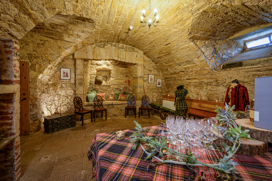 Cellar, Winton Castle, a fine old Renaissance mansion incorporating a castle, long held by the Seton Earls of Winton, and standing in gardens and wooded policies near Pencaitland and Tranent in East Lothian in central Scotland.