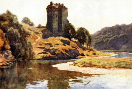 Neidpath Castle, a fine old tower and castle above the River Tweed, near Peebles in the Borders in southern Scotland.