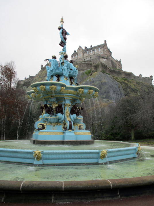 Ross Fountain, Princes Street Gardens, Edinburgh Castle, standing on a rock in the middle of Scotland's capital city, a magnificent fortress and palace, used by the monarchs of Scotland (such as St Margaret and Mary Queen of Scots) as one of the principal