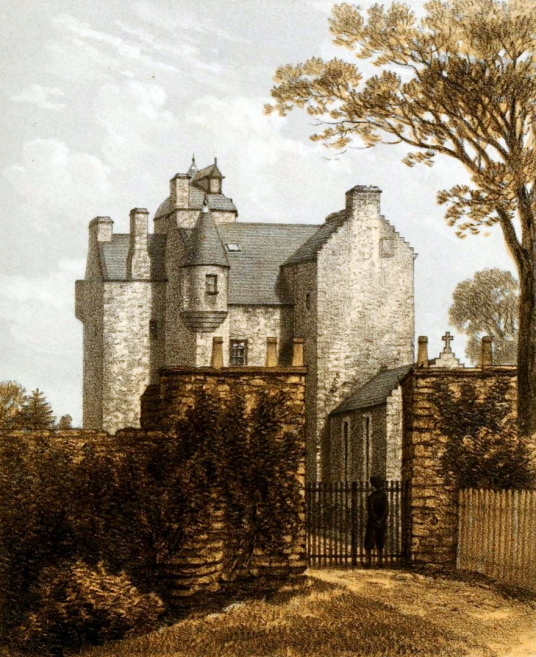 Grandtully Castle, an impressive and well=preserved old castle of the Stewart family in a beautiful spot near Aberfeldy in Perthshire in the Highlands of Scotland.