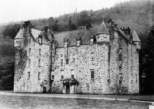 Castle Menzies, a large and imposing old tower house in a picturesque mountainous location, long held by the Menzies clan and with many period rooms to explore, near Aberfeldy in Perthshire in the Highlands of Scotland.