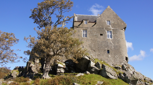 Duntrune Castle is a fine old building in a pretty spot, held by the Campbells and then the Malcolms of Poltalloch, near Lochgilphead and Crinan in Argyll in southwest Scotland.