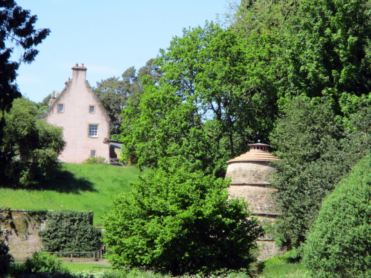 Old Mertoun House and doocot, Mertoun House is a fine mansion with lovely gardens, held by the Scotts and then the Dukes of Sutherland, near Kelso in the Borders in southeast Scotland.
