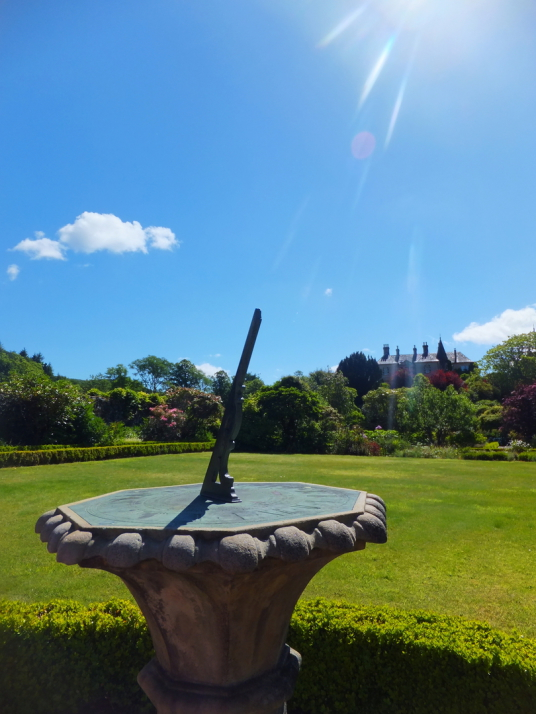 Sundial, Ardmaddy Castle and Gardens, an attractive mansion on a rock in a beautiful spot with the fantastic walled garden, water garden and wooded grounds, near Oban in Argyll.