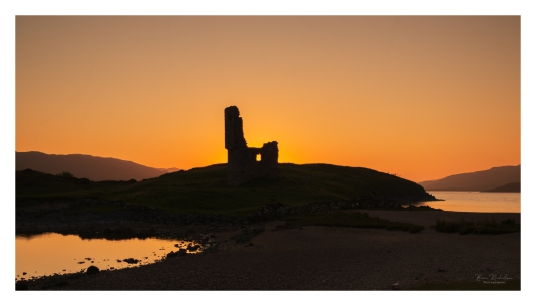 Ardvreck Castle by Brian Nicholson, a ruinous old stronghold of the MacLeods of Assynt, in a beautiful spot on the banks of Loch Assynt with the ruin of Calda House, a later house of the Mackenzies, nearby, near Inchnadamph, in Sutherland in the north of