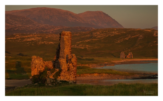 Calda House and Ardvreck Castle by Brian Nicholson, a ruinous old stronghold of the MacLeods of Assynt, in a beautiful spot on the banks of Loch Assynt with the ruin of Calda House, a later house of the Mackenzies, nearby, near Inchnadamph, in Sutherland